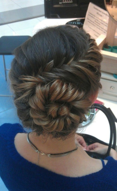 Cute FishTail Braid Curved & twisted Into a Taut Bun