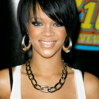 Cute African American Hairstyles from Rihanna: Cute Bob Cut