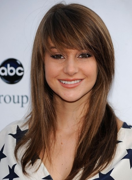 Hairstyles for Girls: Cute Long Straight Hairstyle with Wispy Bangs