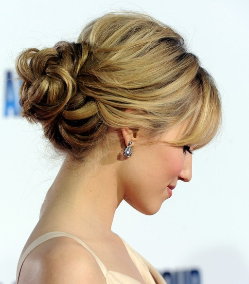 Dianna Agron Loose Bun Updo Hairstyles Weekly