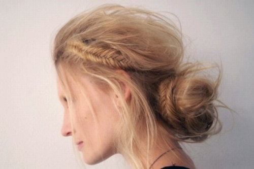 Fishtail briad in disheveled chignon
