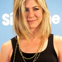 Jennifer Aniston Lob Hairstyle: Medium Straight Blonde Bob Haircut