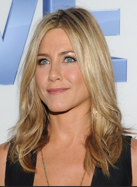Jennifer Aniston Layered Long Center Part Hairstyle