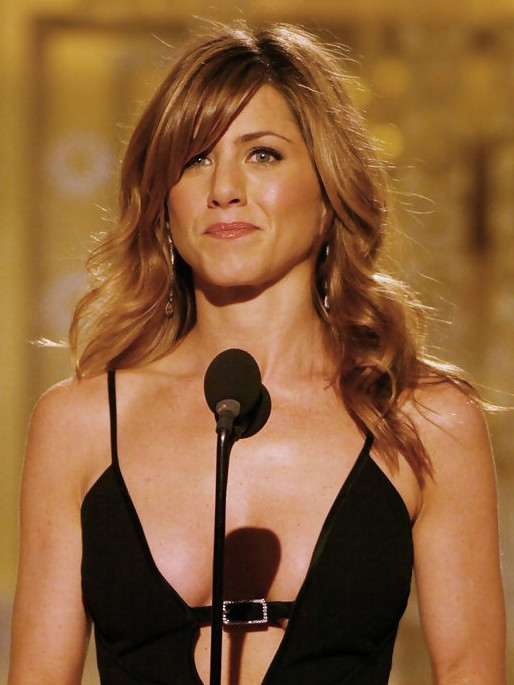 Jennifer Aniston Long Curly Hairstyles with Side Swept Bangs