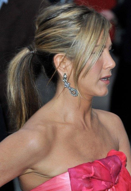 Fantastic Jennifer Aniston Ponytail Hairstyles With Side Swept Bangs Short Hairstyles Gunalazisus
