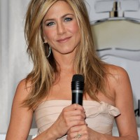 Jennifer Aniston Shoulder Length Hairstyles with Side Bangs
