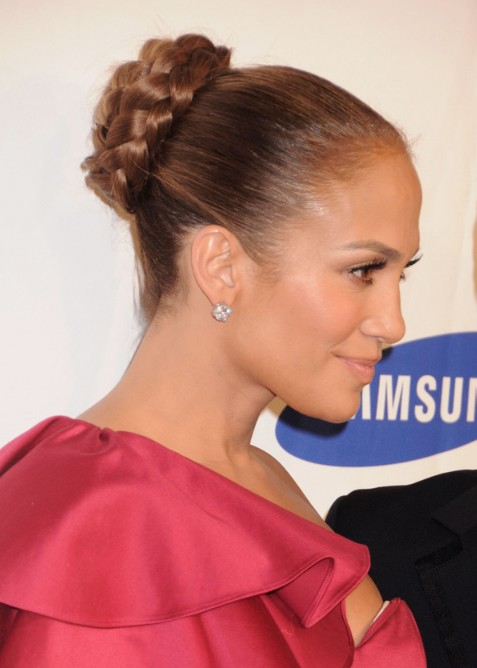 Jennifer Lopez Braided Bun Updo Hairstyle