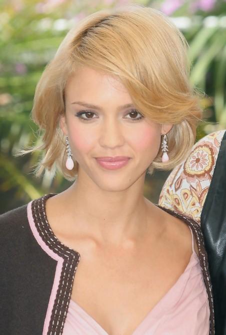 Miraculous Jessica Alba Cute Short Bob Haircut Hairstyles Weekly Hairstyles For Women Draintrainus