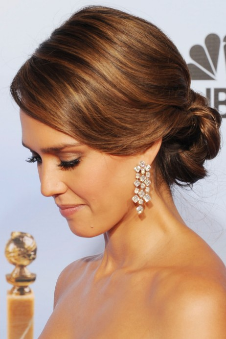 Side view of Jessica Alba Bobby Pinned Updo