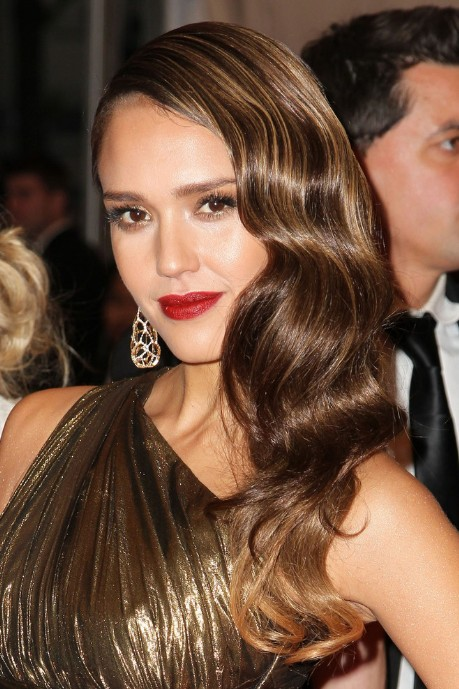 jessica alba long hairstyle: glamour retro hair style - hairstyles