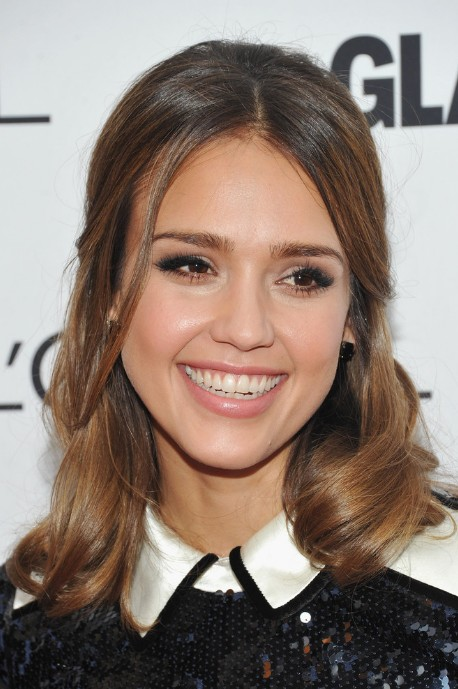 Jessica Alba Lovely Half Up Half Down Hairstyle
