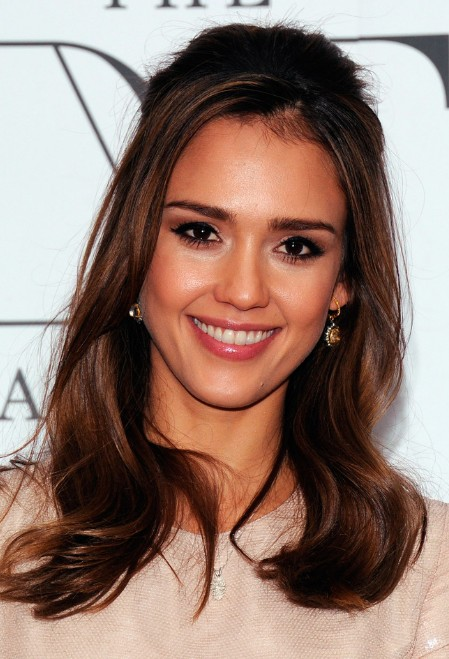 Fabulous Jessica Alba Half Up Half Down Hairstyle For Medium Hair Short Hairstyles For Black Women Fulllsitofus