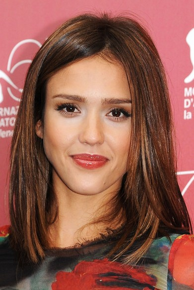 Jessica Alba Medium Straight Hair Styles