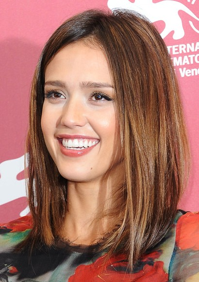 jessica alba medium straight brunette bob hairstyle - hairstyles
