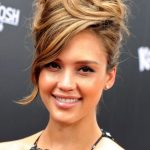 Jessica Alba Messy Updo with Side Swept Bangs