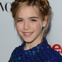 Kiernan Shipka Hairstyles: Cute Heidi Braid Updo
