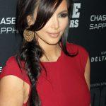 Kim Kardashian Long Side Braided Hairstyle