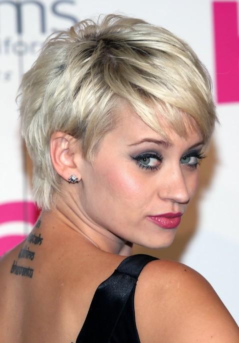 Kimberly Wyatt Short Silver Straight Pixie Hairstyles for