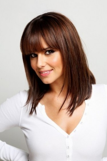 Wondrous Shoulder Length Straight Hairstyle With Blunt Bangs Hairstyles Short Hairstyles Gunalazisus