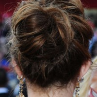 Miley Cyrus Romantic Loose Bun Updo for Wedding