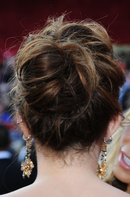 Miley cyrus romantic loose bun updo for wedding hairstyles weekly miley cyrus romantic loose bun updo for wedding junglespirit Images