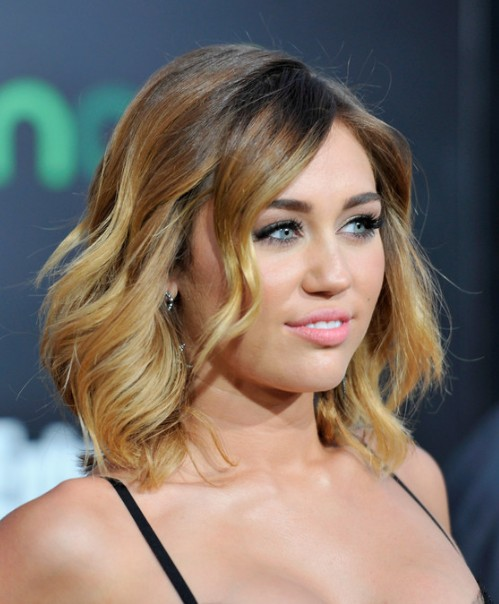 Miley Cyrus Ombre Hair: Layered Mid Length Hairstyles for Women ...