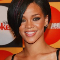Rihanna Bob Hairstyles: Sexy Short Bob Cut with Side Bangs