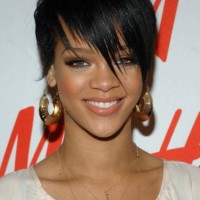 Rihanna Boy Cut: Short Black Hairstyle with Fringed Bangs