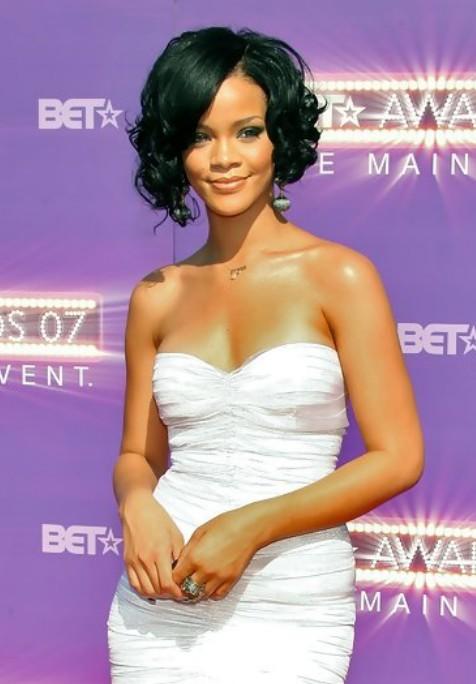 Rihanna Short Haircut Curly Black Bob Hairstyles