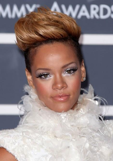 Rihanna Elegant High Quiff Hairstyle