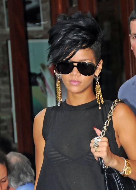 Rihanna Fauxhawk Hairstyle Stylish Short Spiked Black