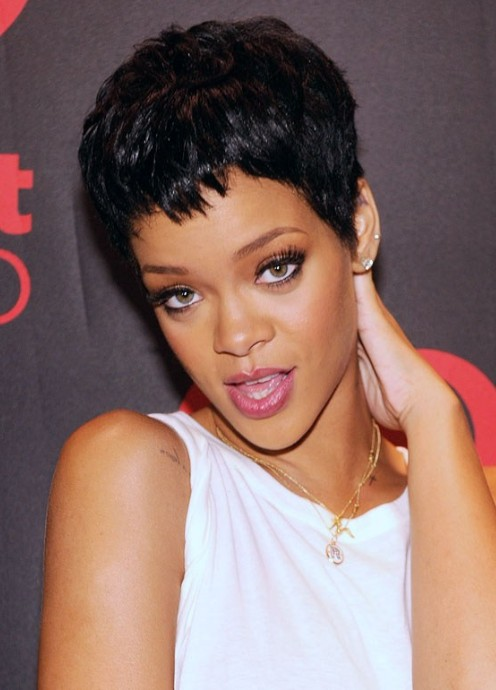 Rihanna Hairstyles rihanna long straight casual Rihanna Hairstyles 2013 The Short Pixie Cut