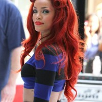 Rihanna Half Up Half Down Long Curly Red Hairstyle