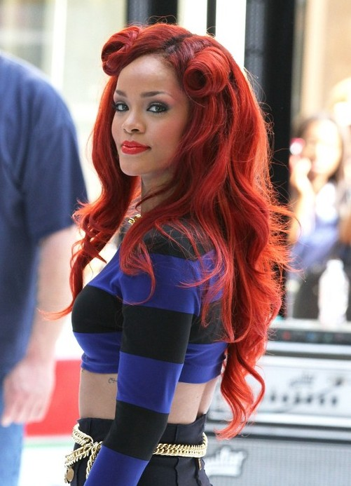 Rihanna Red Hairstyles 2012