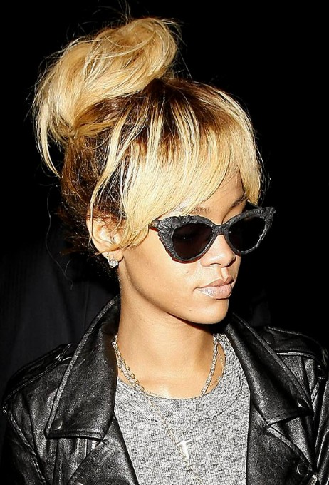 Pleasant Rihanna High Bun Updo Stylish Messy Bun Updos With Bangs Hairstyles For Men Maxibearus