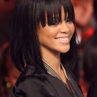 Rihanna Long Straight Bob Hairstyle with Bangs for Girls
