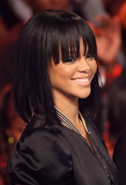 Rihanna long straight bob hairstyle with bangs for girls rihanna long straight bob hairstyle with bangs for girls urmus Gallery