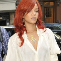 Rihanna Long Straight Red Hairstyle with Side Bangs
