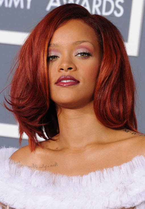 Rihanna hairstyles: medium cherry red hair