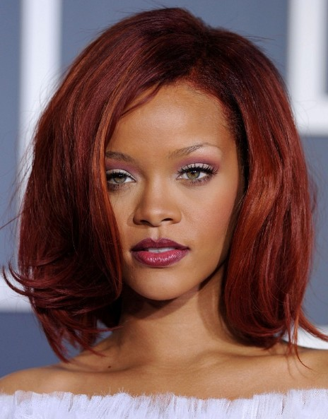 Rihanna Medium Red Bob Hairstyles with Volumes - Hairstyles Weekly