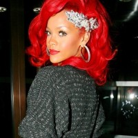 Rihanna Medium Red Hair Style With Layers