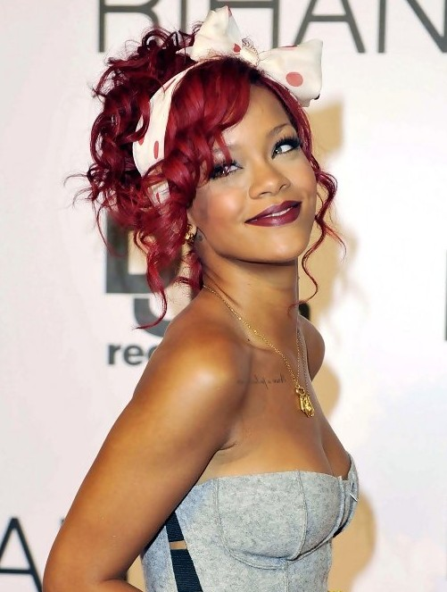 red head rihanna pinned up curly updo hairstyle hairstyles weekly. Black Bedroom Furniture Sets. Home Design Ideas
