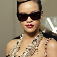 Rihanna Modern Pompadour Updo Hairstyle
