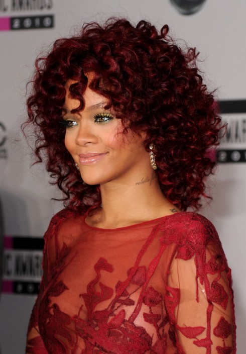 Rihanna Red Curly Hairstyles with Layers - Hairstyles Weekly