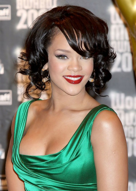 Swell Rihanna Short Curly Bob Hairstyle With Side Swept Bangs Hairstyles For Women Draintrainus