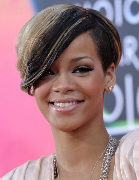 Brilliant Rihanna Short Haircut With Side Swept Bangs Hairstyles Weekly Short Hairstyles For Black Women Fulllsitofus