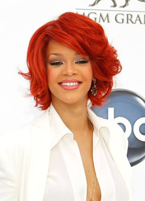 Rihanna Bob Hairstyles Short Red Curly Cut With Layers For Women