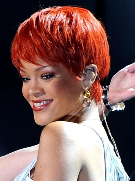 Rihanna Short Haircut Red Pixie For Summer Days