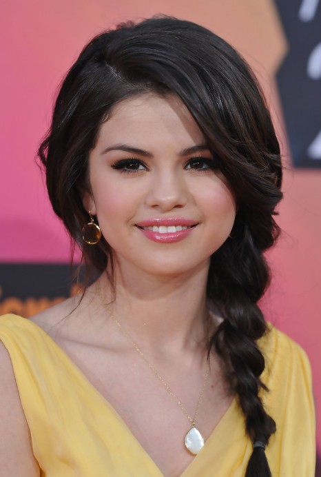 Selena Gomez Bradied Long Hairstyles with Bangs