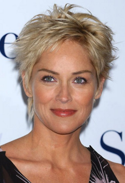 Sharon Stone Short Hairstyles for Women over 50s